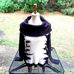 Kensie Small Fuzzy Sweater cowl neck soft warm s